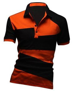Hot Sale Turn-down Collar Color Lump Splicing Short Sleeves Polo T-Shirt For d71e0a9966