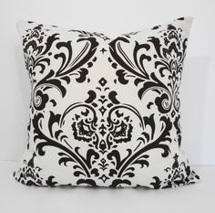 Damask Decorative Pillow Throw Cover, Chocolate Brown & Natural