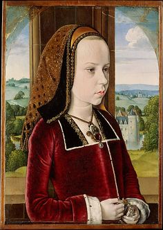 Margaret of Austria, c.1490, Jean Hey (Master of Moulins); the ten-year-old daughter of Emperor Maximilian I wears a pelican pendant, a symbol of Christian charity. (Metropolitan Museum of Art)