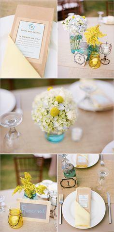 blue yellow wedding ideas dream-wedding-i-repeat-dream Wedding Table, Rustic Wedding, Our Wedding, Dream Wedding, Wedding Bells, Trendy Wedding, Fall Wedding, Blue Yellow Weddings, Summer Wedding Colors