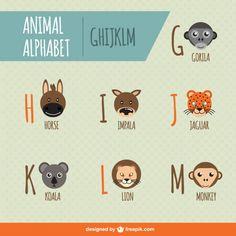 Animal Alphabet Free Vector