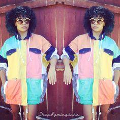 Vintage Color block Unisex, $13, XXL, @shoprymingtahn   stores.ebay.com/ShopRymingtahn   #vintage #retro #dope #fashion #fresh #urban #street #style #colorblock #striped #menswear #mensfashion #womensfashion #dopeness #swag #fro #bluehair #smooth #chill #vibes #vintagejackets #jackets #retrovintage #ebay #dopepics #vintageplus #plussize #texas