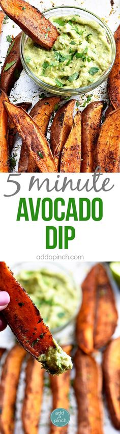Avocado Dip (Avocado Crema) Recipe - This avocado dip recipe is quick, easy and delicious! It comes together in five minutes and is delicious served with so many dishes!  // http://addapinch.com