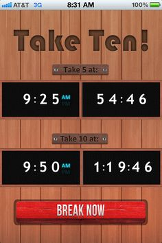 Take Ten! A Stage Management App that keeps track of breaks on an Equity Schedule.