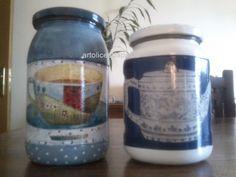 """Frascos de vidro """"Country"""" e """"Chá"""", com decoupage e pintura acrílica"""
