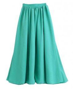Vintage Green Full Pleated Maxi Chiffon Skirt with High Waist