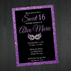 Masquerade Sweet 16 Invitation -  Sweet Sixteen Invitation - Birthday Invitation - Glitter Sweet 16 Invitation -  Sweet 16 Invitation