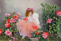 picture Angel  Silk ribbon embroidery by SilkRibbonembroidery, €60.00