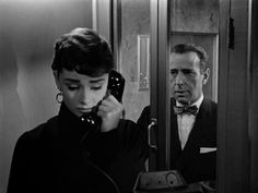 Audrey Hepburn and Humphrey Bogart in Sabrina Aubrey Hepburn, Audrey Hepburn Photos, Classic Hollywood, Old Hollywood, Bogart Movies, Sabrina 1954, Bogie And Bacall, The Blues Brothers, Cinema