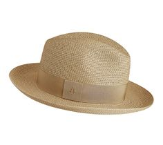 """Women's hat in beige woven paper with a coarse-grained hat band in beige. Subtly adorned with the diamond """"H"""" signature"""