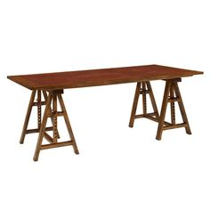 Styled after a late century architect's table, this desk has an adjustable drawing surface fitted with harness leather which is supported on a pair of unusual chevalet bases with turned peg stops. Cottage Furniture, Cabinet Furniture, Furniture Design, Architect Table, Trestle Desk, Bookcase Organization, Desk Inspiration, Home Office Desks, Dining Area