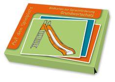 Bildkarten zur Sprachförderung - Grundwortschatz: Auf dem Spielplatz ++ Rutsche, Mülleimer, Sandförmchen, Wippe … Womit kann man im Sandkasten spielen? Worauf kann man klettern? Mit diesem Set lernen Kinder 32 Wörter für Dinge, die es auf dem Kita-Außengelände oder dem Spielplatz gibt. ++ #Sprachförderung #Grundschule #Kindergarten #DaZ