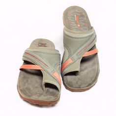 01d01defc0fd05 NEW Merrell Womens 10 41 Terran Post ll Toe Wrap Sandals Taupe Leather Low  Heel