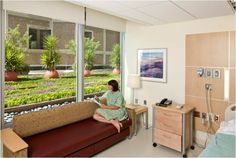 "One of the patient rooms' at Sharp Memorial Hospital that looks out over the Good Earth Plants ""green roof. Hospital Architecture, Art And Architecture, Outdoor Sofa, Outdoor Furniture Sets, Outdoor Decor, Schmidt, Sofa Design, Interior Design, Hospital Room"