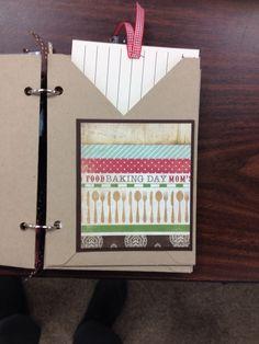 Inside of recipe book make with envelope punch board. By Bev Larson of Scrapbook Art