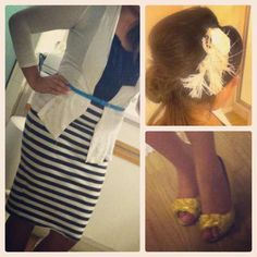 Striped skirt. Yellow shoes. Flower in hair. Outfit of the day. Pentecostal style.