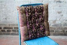 "Sari Fabric Pillow 16"" x 16"" Throw Pillow Eggplant Luxury Bedding Cushion Sofa Couch Meditation"