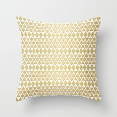 White and Gold Geometric Pattern 4 Throw Pillow