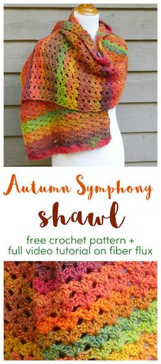Knitting Patterns Scarves Autumn Symphony Shawl, free crochet pattern + full video tutorial on Fiber Flux Crochet Prayer Shawls, Crochet Shawls And Wraps, Crochet Scarves, Crochet Hooks, Prayer Shawl Crochet Pattern, Crochet Shawl Free, Crochet Fall, Knit Crochet, Crochet Things