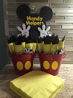 The handy helper Mickey Mouse napkin/silverware wraps sign will add a special touch to your birthday party table. THIS LISTING IS FOR the Handy Helper sign. The sign is made of heavy cardstock. Sign will be shipped USPS first-class mail unless otherwise specified. The delivery