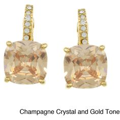 City by City City Style Goldtone or Silvertone Champagne or Purple... ($12) ❤ liked on Polyvore featuring jewelry, earrings, brown, long earrings, purple earrings, brown earrings, purple crystal earrings and polish jewelry