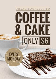 Coffee & Cake promotional template for use in your business! Use this free templ. Food Menu Design, Food Poster Design, Turkish Coffee Reading, Food Promotion, Promotion Display, Restaurant Promotions, Cafe Shop Design, Promo Flyer, Food Advertising