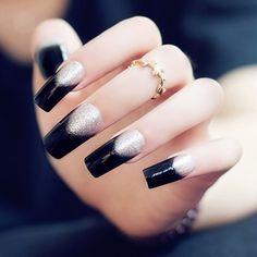 24 PCS Chic Glitter Powder Matching Black Nail Art False Nails ($8.03) ❤ liked on Polyvore featuring beauty products, nail care, nail treatments, nails, makeup and nail polish