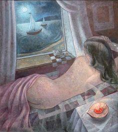 Igor Holas - Lying girl, 2011-13, oil on canvas, 90x105, www.igorholas.cz