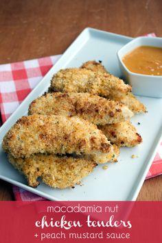 Macadamia Nut Chicken Tenders | (1) ovos batidos (2) Empanar: ½ xic macadâmias , ½ xic coco ralado s/açúcar, ½ colh chá sal marinho, 4 colh chá pimenta, 3/4 colh chá alho em pó, 3/4 colh chá cebola em pó, 1/4 colh chá páprica, 1/4 colh chá manjericão seco | Assar 12min de cada lado | #frango #macadamia