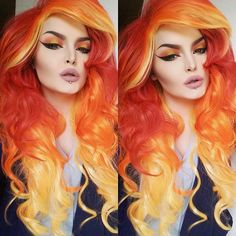 Today I'm a fire goddess. Wig from @rockstarwigs use the code ROSESHOCK for 15% off Lipstick is Charmed by @lasplashcosmetics and eyeshadows are by @sugarpill #sugarpill