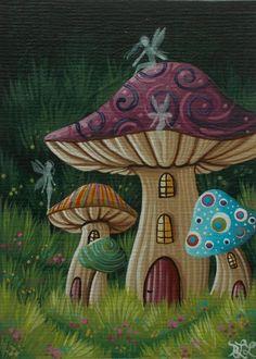 Fairy Paintings, Fantasy Paintings, Fantasy Art, Mushroom Drawing, Mushroom Art, Fairy Drawings, Hippie Painting, Fable, Diy Canvas Art