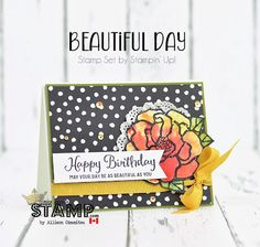 nice people STAMP! - Stampin' Up! Canada: Beautiful Day Birthday Card with BLOG CANDY: GDP0130 by Allison Okamitsu Uses: Brusho, Beautiful Day Stamp Set