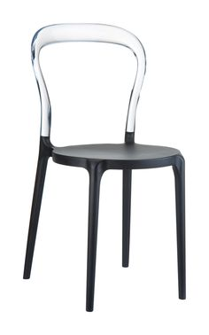 [Siesta Exclusive | Contract Collection | Mr BOBO Chair] Stacking chair with the latest generation of air moulding thermoplastic injection. Seat in polyproplene reinforced with glass fiber, backrest in transparent polycarbonate. For indoor and outdoor use.