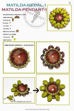 Ewa gyöngyös világa!: Matilda medál minta 1 / Matilda pendant pattern 1