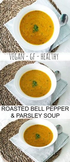 A delicious and vegan roasted bell pepper soup with parsley! This recipe uses yellow bell peppers, and is bursting with flavour.