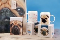Pugs & Kisses Collection - Shopping Bag, A5 Notebook and Bone China Mugs in Display Boxes #pug #accessories #giftware #animals #dog