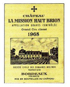 Chateau La Mission Haut Brion Graves 1968 Wine Label