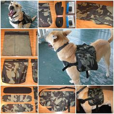 DIY Dog Hiking Backpack : Maybe not in camo, as I am not going to be doing a survivalist hike. I hope.
