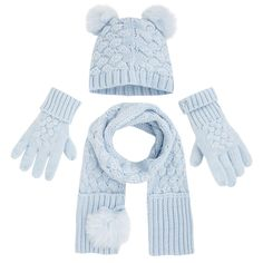 Winter blue hat, scarf and glove set from Mayoral, also available in navy and red.