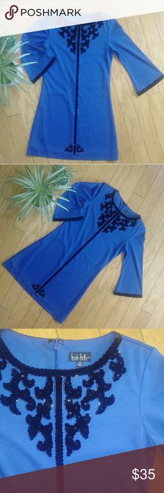 ❤sale❤Nicole miller girls dress Nicole miller girls dress. Blue with black beading.  Size 14 Nicole Miller Dresses