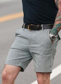 d255ab9fbd0e Pinstripe short with built in detachable leather leg harness. Menswear made  in the USA SIZE