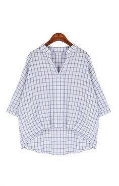 Loose White V-neck Grids Print Batwing Short Sleeve Blouse