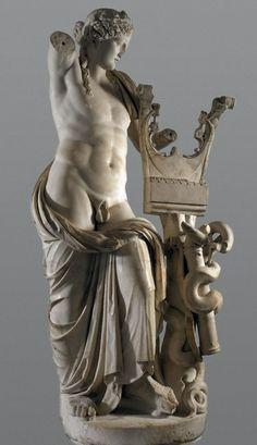 Apollo Roman statue - marble copy of Hellenistic original, circa 2nd century AD - at British Museum, London