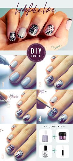 Some step-by-steps for my lace nail art kit available at nastynails.com