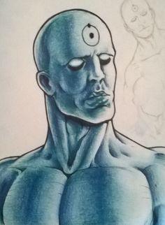 Doctor Manhattan, matita su carta, di Matteo Tirimagni.