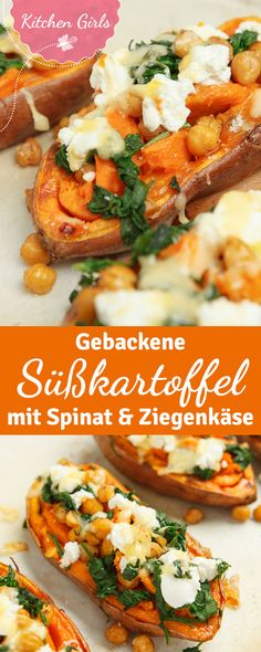 Rezept für gebackene Süßkartoffeln mit Ziegenkäse und Spinat A healthy main course from the oven: baked sweet potatoes filled with spinach and goat cheese. If you vary the topping ingredients a little Healthy Food Recipes, Veggie Recipes, Cooking Recipes, Yummy Food, Budget Cooking, Dinner Recipes, Dinner Ideas, Paleo Food, Food Budget
