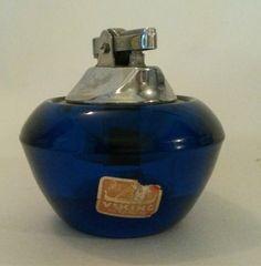 Vintage Viking Glass Bluenique Lighter Original Sticker Unused Wick #VikingGlass #MidCenturyModern