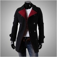 Men's Double Breasted Slim Fitting Wool Coat with Red Collar