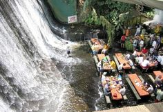 Restaurant next to a waterfall in the Philippines.