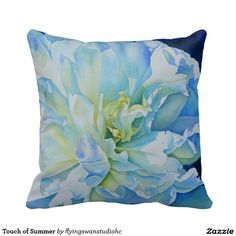 Touch of Summer Pillow - original watercolor painitng - http://www.zazzle.com/flyingswanstudiohc*